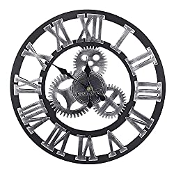 Bengenta Vintage Gear Wall Clock-Noiseless Silent Non-Ticking Wooden Wall Clock - Large 3D Retro Rustic Country Decorative Luxury for House Warming Gift (Black&Silver, 23 inch)