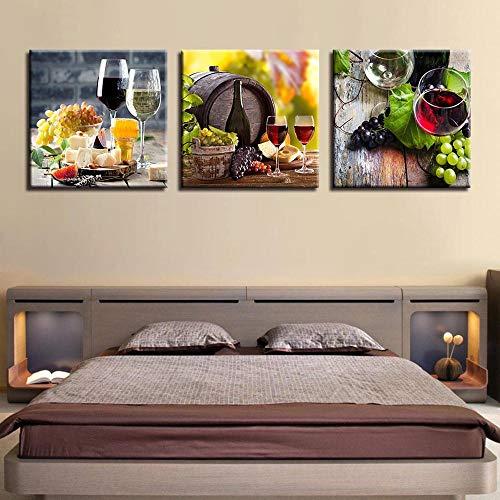 MGWA Wall Mural Pintura A Chorro De Tinta, Pintura Decorativa, Vino Triple Y Pintura Gourmet De Pared, Pintura Colgante, Mural De Porche (con Marco) (Size : 40 * 40cm*3)