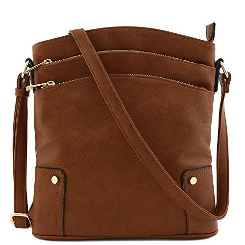 Triple Zip Pocket Large Crossbody Bag (Brown)