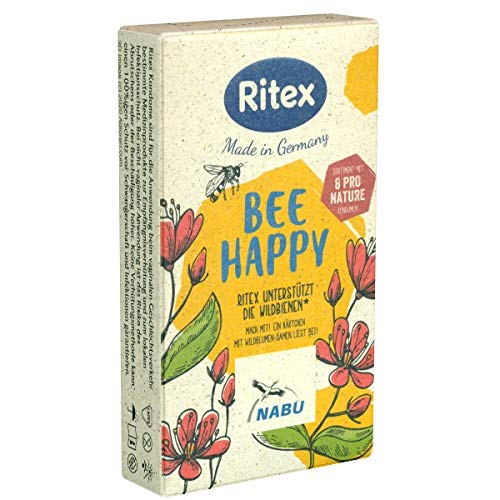 Ritex Pro Nature Bee Happy, 8 anatomische Kondome, verschiedene Sorten, Kondom-Sortiment, Ohne Bienchen kein Blümchen, Öko-Kondome, nachhaltig produziert