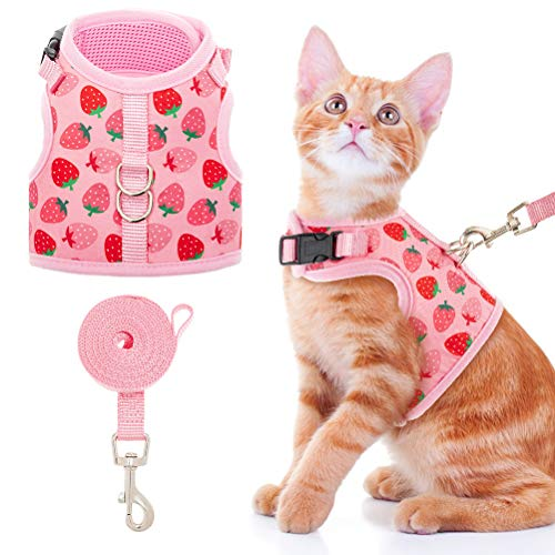 BINGPET Cat Harness and Leash Set - Escape Proof Cat Walking Harness with Cute Pink Strawberry Pattern, Soft Mesh Vest Harness, and Adjustable Pet...