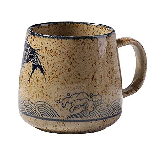 TFJJSQA Especial/Simple Taza de café de la Vendimia Tazas de cerámica de Estilo Retro japonés único 380ml Cambie el Cambio de Desayuno de la Arcilla Regalo Creativo para los Amigos