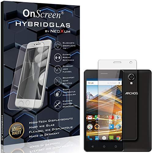 OnScreen Schutzfolie Panzerglas kompatibel mit Archos 50d Neon Panzer-Glas-Folie = biegsames HYBRIDGLAS, Bildschirmschutzfolie, splitterfrei, MATT, Anti-Reflex - entspiegelnd