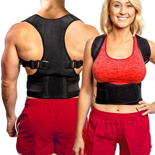 Back Brace Posture Corrector - Best Fully Adjustable Support Brace - Improves Posture and Provides Lumbar Support - for Lower and Upper Back Pain - Men and Women (Small/Medium)