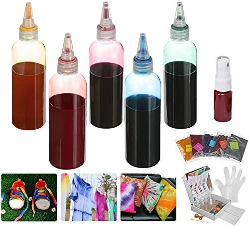 Essort Tie Dye Kit DIY 5 Lebendige Farben Krawattenfärbe One-Step Art Set DIY Textilfarben mit 40 Stück Gummi Band für Kinder Erwachsene Kleidung Halloween