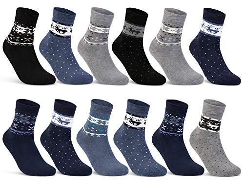 sockenkauf24 6 oder 12 Paar Damen THERMO Socken mit Innenfrottee Wintersocken Damensocken - D-27 (39-42, 12 Paar | Farbmix)