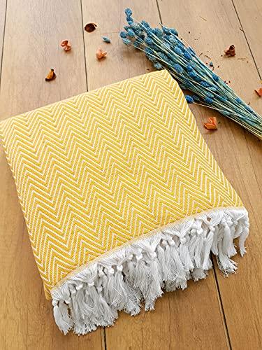 Damla Tagesdecke Überwurf Decke - Wohndecke perfekt für Bett & Sofa, 100prozent Baumwolle - handgefertigte Fransen, 200x240cm (Gelb)