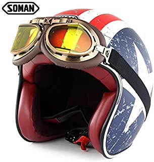 RONSHIN Motorcycle Helmet Harley Chopper Vintage Open Face Old School Casque Moto Cacapete Retro Helmets with Goggles