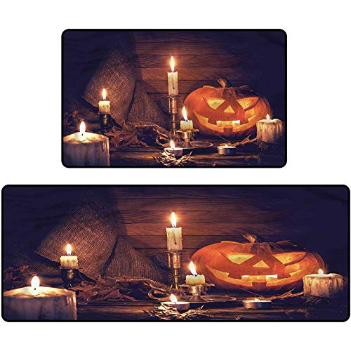 Halloween Bathroom Mats Wood Planks and Candles Non-Slip Floor Mat for Entry Patio 15'x47'+15'x23'
