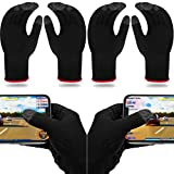 4 Pairs Game Gloves for Gaming Mobile Game Controllers Finger Gloves Set, Anti-Sweat Breathable Touch Finger Gloves Silver Fiber Material for Phone Games PUBG