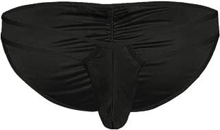 Men Lingerie Low-Waisted Bulge Pouch Ruched Back Bikini Briefs Underwear Swimwear