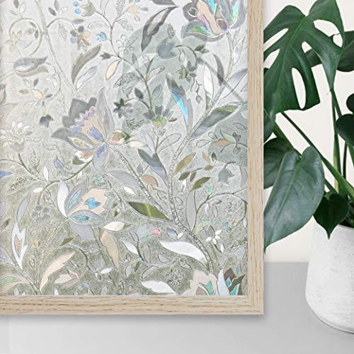 UMI.3D Fensterfolie Sichtschutz Folie Fenster Selbstklebend für Badezimmer Schlafzimmer Küche (Tulip) (90 x 200 cm)