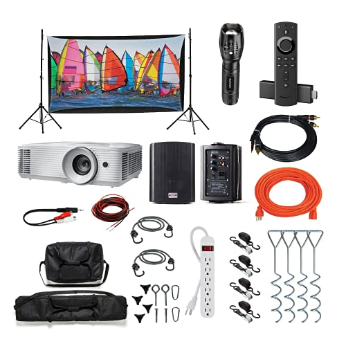 Backyard Theater Kit   Recreation Series System   9' Front and Rear Projection Screen with 1080p HD Savi 4000 Lumen Projector, Sound System, Streaming Device w/WiFi (EZ-950)