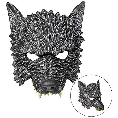 Widmann 01162 Kinnlose Wolfmaske, Unisex– Erwachsene, Schwarz, Einheitsgröße