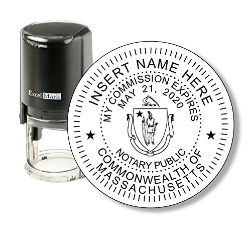 ExcelMark A-43 Self-Inking Round Rubber Notary Stamp - State of Massachusetts