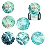 Coasters for Drinks,Marble-Texture Absorbent Coasters with Iron Coaster Holder and Non-slip Cork Base,Cup Coasters for Table,Beach Thirstystone Coasters,4.06'Funny Coaster Set 6 as Home Decor