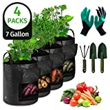 BIEZIAYA 4 Packs 7 Gallon Potato Grow Bags,Heavy Duty Thickened Vegetable Grow Pots with 3 Tools, 1 Gardening Gloves Claws for Tomato,Carrot,Onion,Fruits,Flower Vegetable Planter