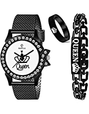 Versatile Black Queen Set Watch and Bracelet and Ring Combo Women and Grils