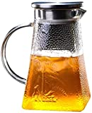 HJW Tetera Útil Tetera de Hervidor de 1,0 L/Litros Jarasilicato Libre de Borosilicato de Borosilicato de Borosilicato con Mango de Cristal Y Jarra de Tapa de Acero Inoxidable Adecuado para Jugo de