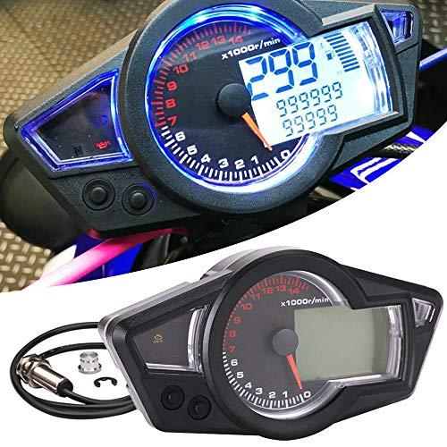 KKmoon Tacho Motorrad Speed Meter 0〜14000 RPM Geschwindigkeitsmesser wasserdichte Digitale Hintergrundbeleuchtung für LCD Motorrad Instrument Tachometer 199 km/h
