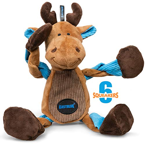 EASTBLUE Reindeer Dog Squeaky Toys: Cute Plush Stuffed Puppy Chew Toy with 6 Squeaker for Small | Medium Breed
