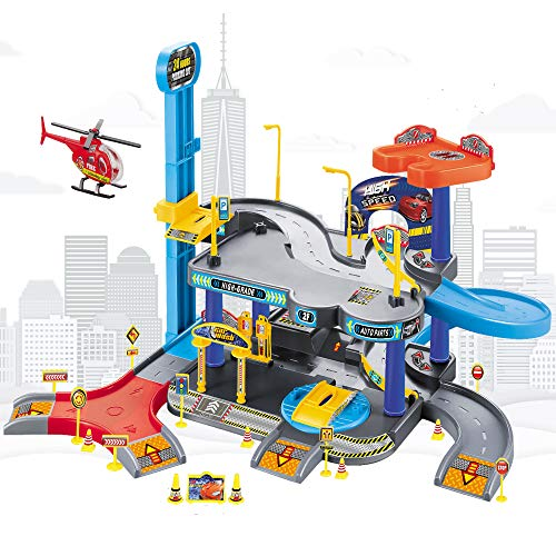 2-Level Garage Toy Set Car Vehicle Building Parking Lot Race Tracks for Boys with 1 Helicopter and 2 Random Cars Durable Garage Playset for Boys, Kids, Toddler