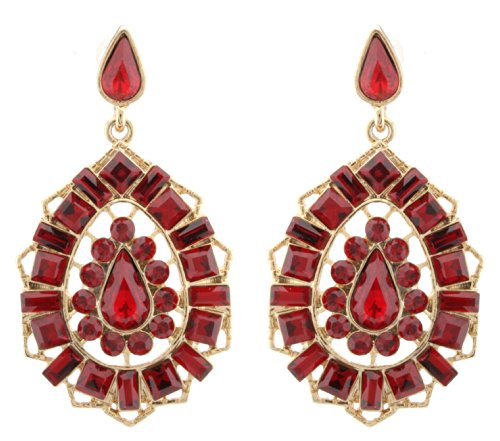 Zest Indian Style Swarovski Crystal Kundan Earrings Pierced Ears Red