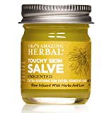 Touchy Skin Salve, more than a calendula cream, is a natural healing ointment made with our Base Oil, of organic calendula, licorice, comfrey, plantain, St. Johns wort, and thyme. This makes it an effective natural eczema and dermatitis cream, as wel...