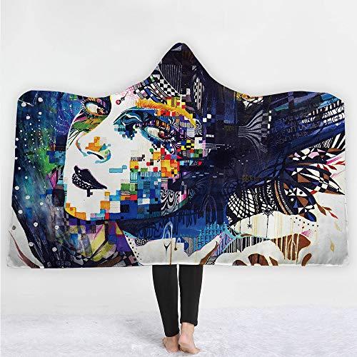 KNNSYZ Decke mit Kapuze Decke Mantel magischen Hut Decke dicken Doppelschicht-Plüsch 3D-Digitaldruck