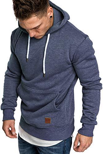 Amaci&Sons Herren Basic Kapuzenpullover Sweatjacke Pullover Hoodie Sweatshirt 4023 Blau Melange 3XL