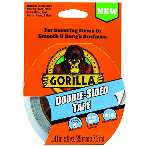 """Gorilla Double-Sided Tape, 1.41"""" x 8yd, Gray, (Pack of 1),100925"""