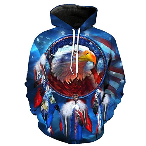 Dream Catcher and Eagle Head Unisex 3D Printed Hoodies Funny Pattern Pullover Novelty Hoody Sweatshirts Casual Pullover with Big Pockets-XXL