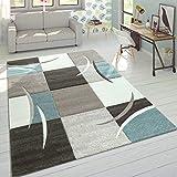 Alfombra De Diseño Moderna Contorneada En Colores Pastel con Estampado Cuadriculado En Beige Y Turquesa, tamaño:160x230 cm