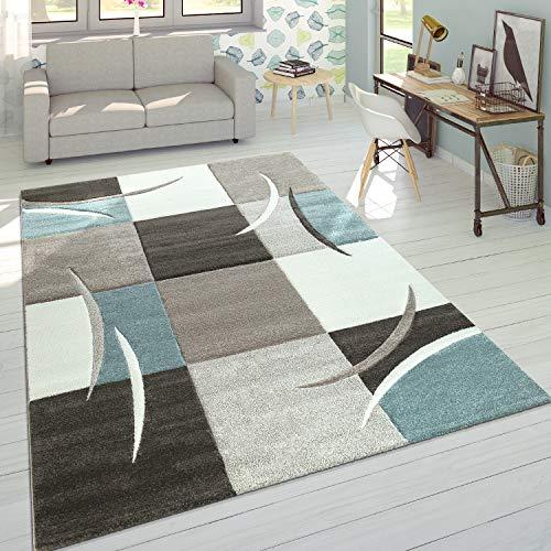 Alfombra De Diseño Moderna Contorneada En Colores Pastel con Estampado Cuadriculado En Beige Y Turquesa, tamaño:200x290 cm
