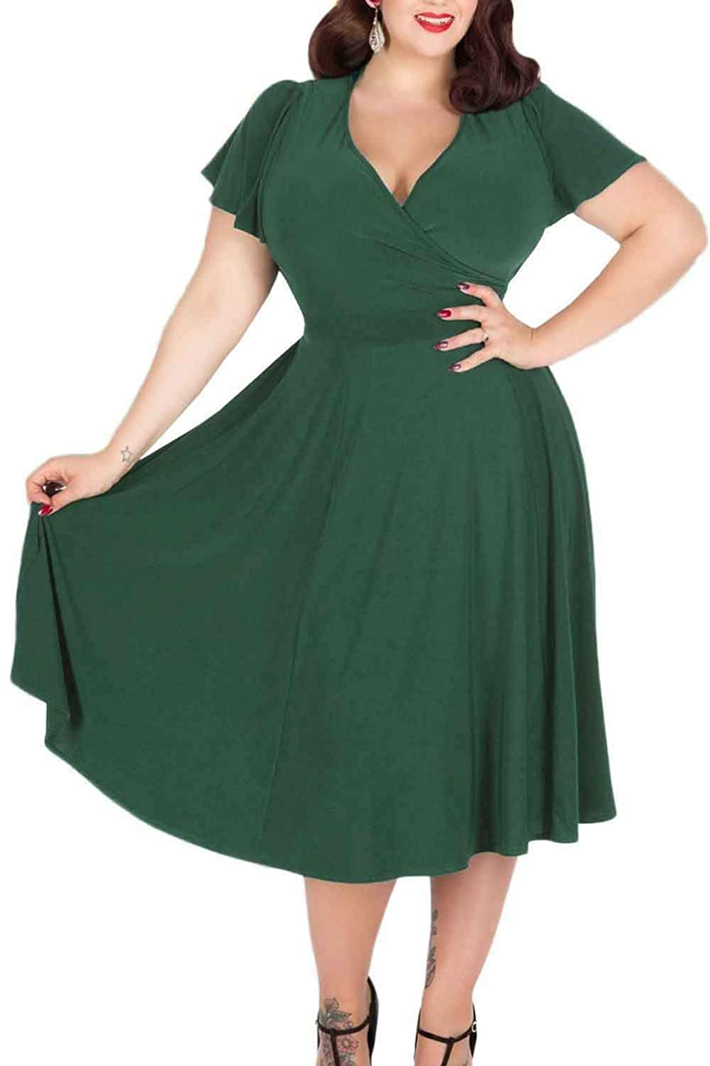 Roseinthebox Women Maxi Wrap V Neck Stretchy Casual Short Sleeve Swing Flowy Midi Plus Size Bridesmaid Party Dress