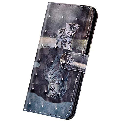 Surakey PU Leder Hülle für Huawei Honor View 20 Handyhülle Brieftasche Handytasche 3D Bunte Glitzer Muster PU Tasche Schutzhülle Flip Hülle Wallet Cover Ständer Kartenfächer, Katze Tiger