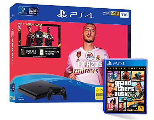 PS4 Slim 1To Console Playstation 4 Noir + FIFA 20 + GTA V Premium Edition Grand Theft Auto 5
