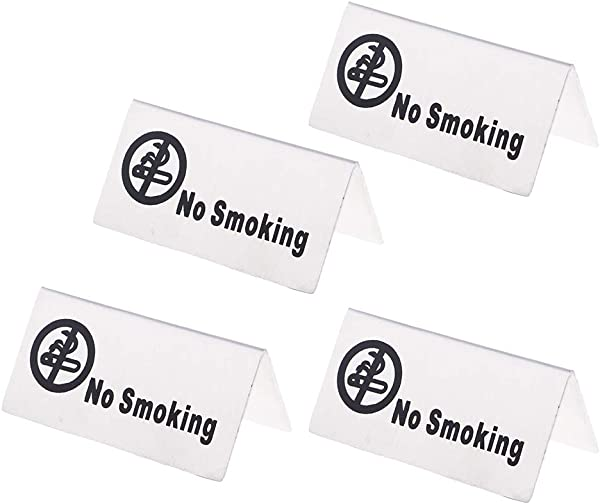 Baoblaze 4Pcs Stainless Steel No Smoking Reserved Table Signs For Office