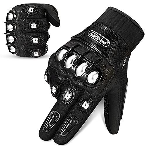 Auboa Motorcycle Gloves for Men and Women Alloy Steel Knuckle Touch Screen Gloves Riding Racing Tactical Paintball Gloves(XXL, Black)