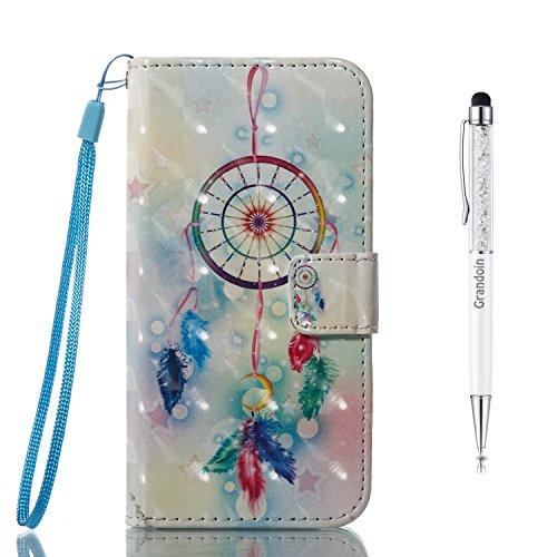 "Grandoin iPhone 8 Plus Hülle,iPhone 7 Plus Hülle, Handyhülle im Brieftasche-Stil für Apple iPhone 7 Plus/iPhone 8 Plus 5.5\"" Handytasche PU Leder Flip Cover 3D Bunte Muster Book Case (Windspiel)"