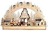 BRUBAKER - Arc lumineux 3D - Paysage d'hiver avec Bûcherons - Éclairage LED - 43,5 x 26,8 x 10,1 cm - Détails peints à la main - Bois naturel - Décoration de Noël traditionnelle