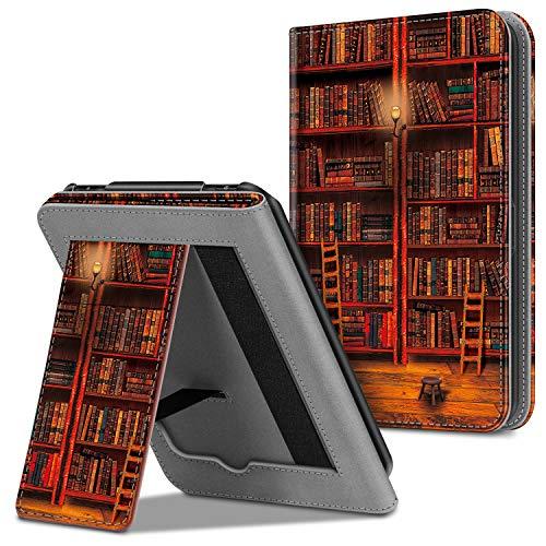 Fintie Hülle für Tolino Vision 4 HD/Vision 3 HD/Vision 2 / Vision 1 / Shine 2 HD eReader, Kickstand Schutzhülle mit Kartenfach Handschlaufe und Auto Sleep/Wake Funktion, die Bibliothek