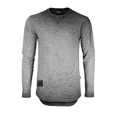 Men's Long Sleeve Crew Neck Color Dye Washed Vintage Curved Hem T-Shirts