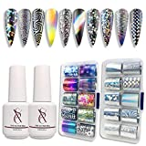 SXC G-17 Nail Foil Glue Gel with Foil Stickers Set Nail Transfer Tips Manicure Art DIY 2X 15ML, 20PCS Stickers, UV LED Lamp Required(Holo Series)
