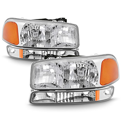 ACANII - For 1999-2006 GMC Sierra Yukon Crystal Headlights w/Bumper Signal Lights Driver + Passenger Side
