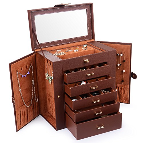 Kendal Huge Leather Jewelry Box / Case / Storage LJC-SHD5BN (Brown)
