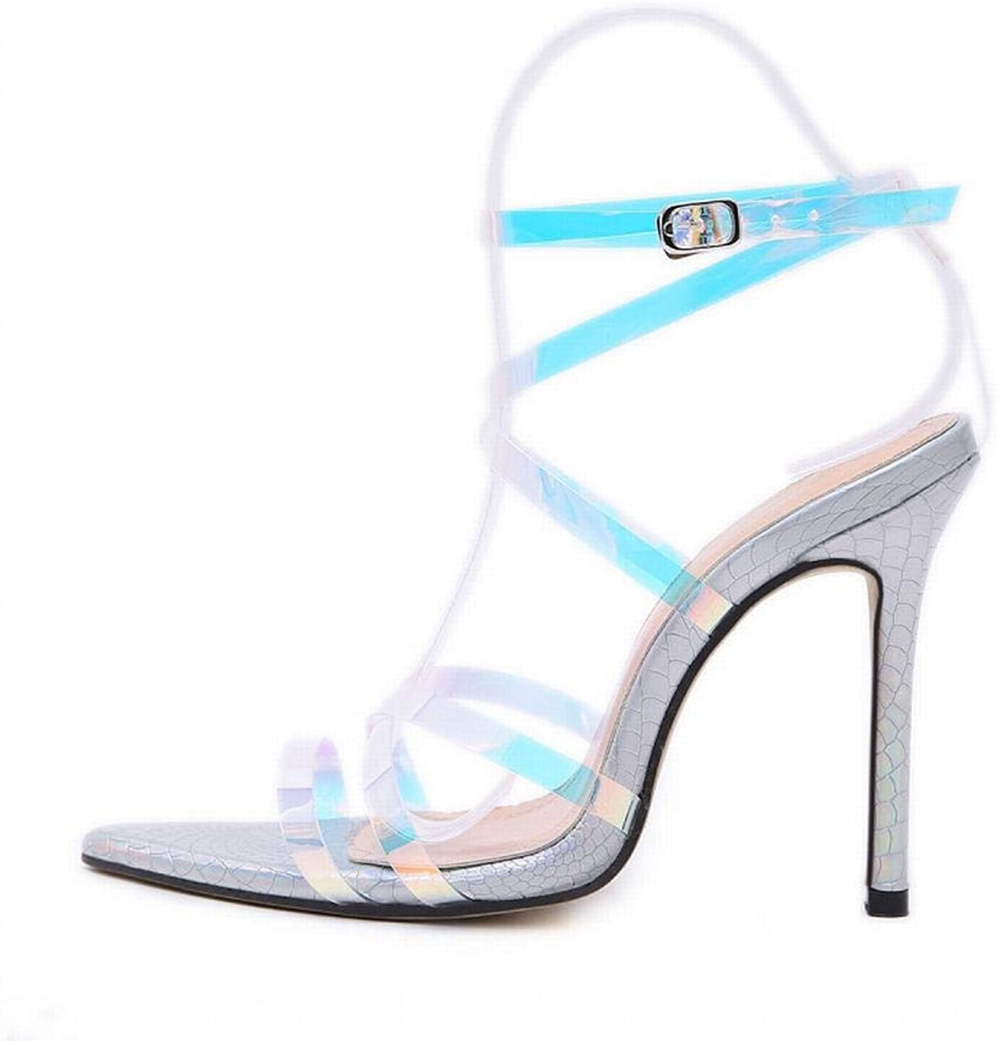 KRPENRIO Women's Sandals Summer Fish Mouth Pointed Thin Strips Bright color Stilettos