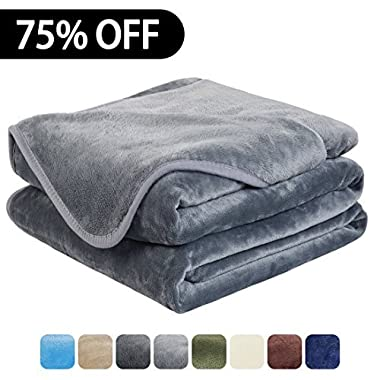 EASELAND Luxury Super Soft King Size Blanket Summer Cooling Warm Fuzzy Microplush Lightweight Thermal Fleece Blankets for Couch Bed Sofa,90 by 108 Inches,Gray