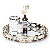 LULARINE Gold Vanity Tray, Decorative Mirror Tray for Home