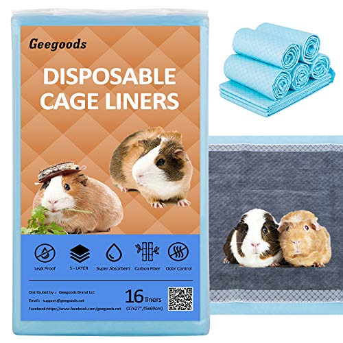 Geegoods Disposable Guinea Pig Cage Liners , Liners Pee Pads for Guinea Pig,Bamboo Charcoal Odor Controlling,Super Absorbent, Suitable for C&C Cage Liners